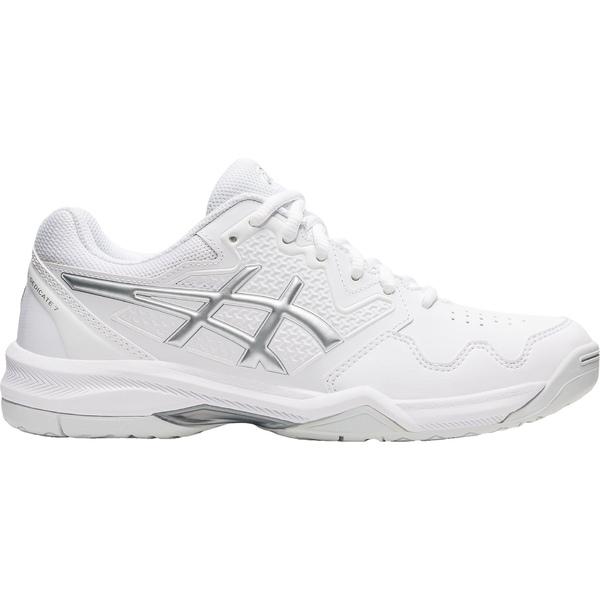 ASICS レディース スポーツ テニス White Silver 全商品無料サイズ交換 Women's 7 Tennis NEW売り切れる前に☆ 訳あり Shoes アシックス Gel Dedicate