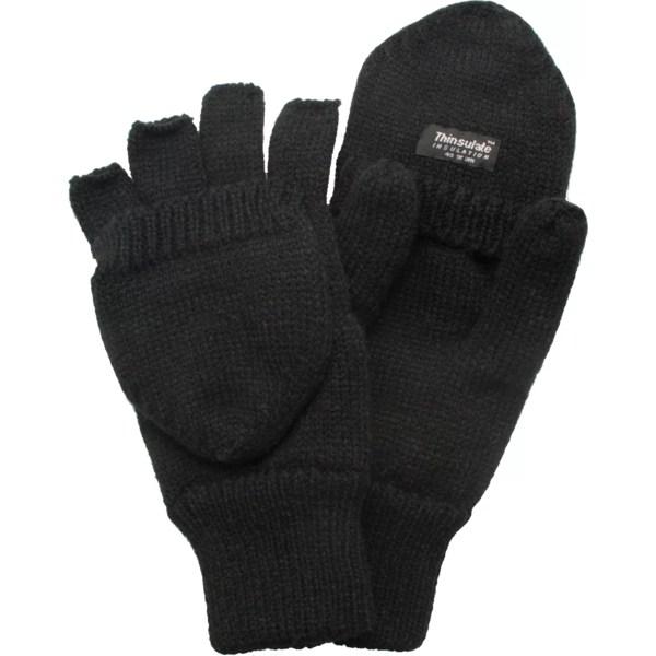 QuietWear ギフト メンズ アクセサリー 手袋 Black 全商品無料サイズ交換 Flip Insulated Gloves Men's クワイエットウェア Knit 宅配便送料無料