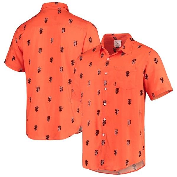 フォコ メンズ シャツ トップス San Francisco Giants Mini Print Logo Button-Up Shirt Orange