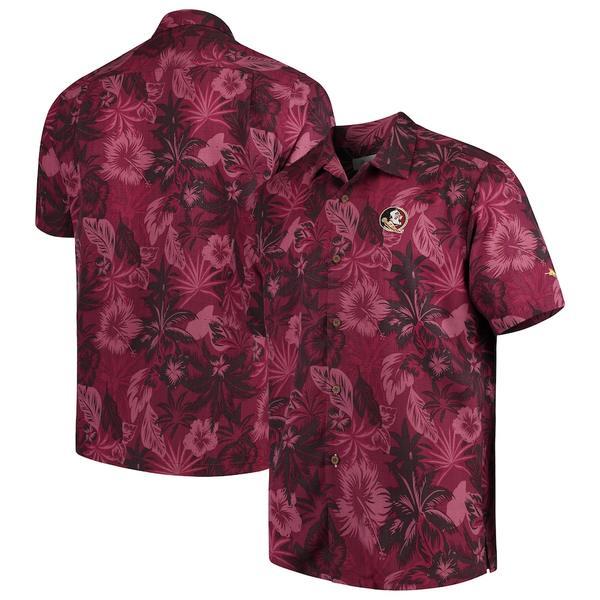 トッミーバハマ メンズ シャツ トップス Florida State Seminoles Tommy Bahama Fuego Floral Silk Camp Shirt Garnet