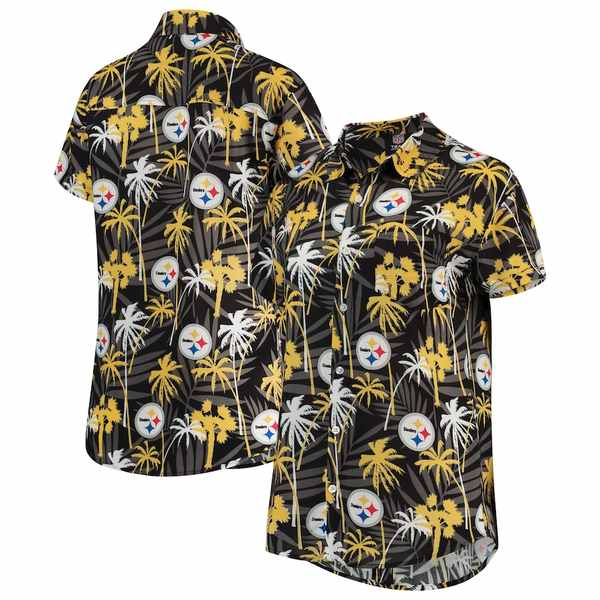 フォコ レディース シャツ トップス Pittsburgh Steelers Women's Floral Harmonic Button-Up Shirt Black