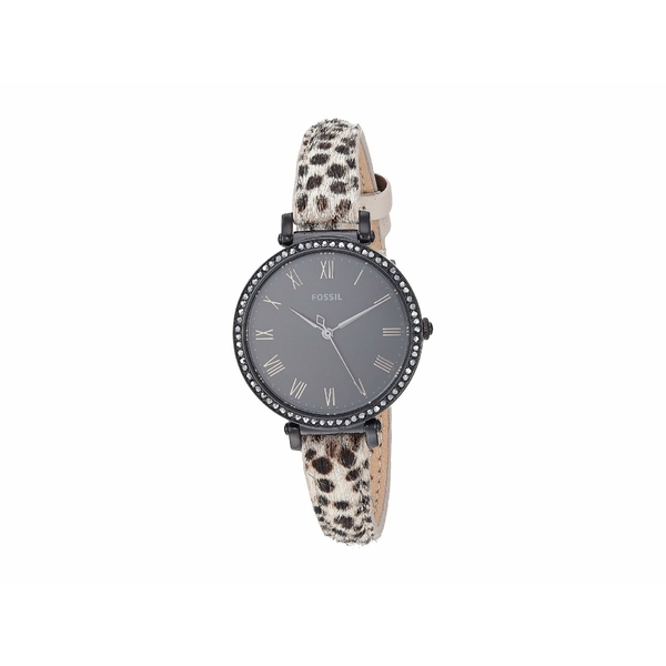 フォッシル レディース 腕時計 アクセサリー Kinsey Three-Hand Watch ES4726 Black Faux Cheetah Hair Leather