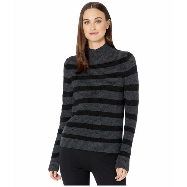 エイリーンフィッシャー レディース ニット&セーター アウター Merino Stripe Turtleneck Top Charcoal/Black