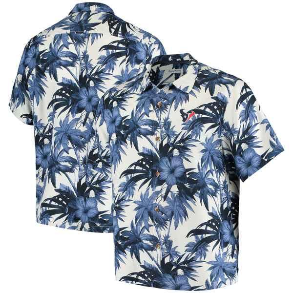トッミーバハマ メンズ シャツ トップス Houston Texans Tommy Bahama Sport Harbor Island Hibiscus Camp ButtonDown Shirt Navy