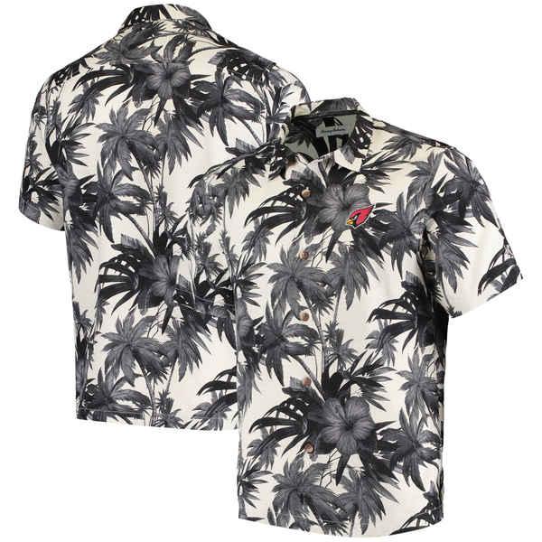 トッミーバハマ メンズ シャツ トップス Arizona Cardinals Tommy Bahama Sport Harbor Island Hibiscus Camp ButtonDown Shirt Black
