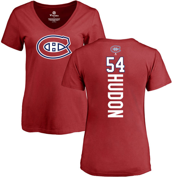 ファナティクス レディース Tシャツ トップス Montreal Canadiens Fanatics Branded Women's Personalized Playmaker Slim Fit VNeck TShirt Red