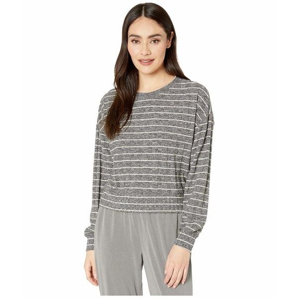スプレンディット レディース ニット&セーター アウター Ribbed Long Sleeve Pullover Heather Charcoal/Oatmeal Stripe