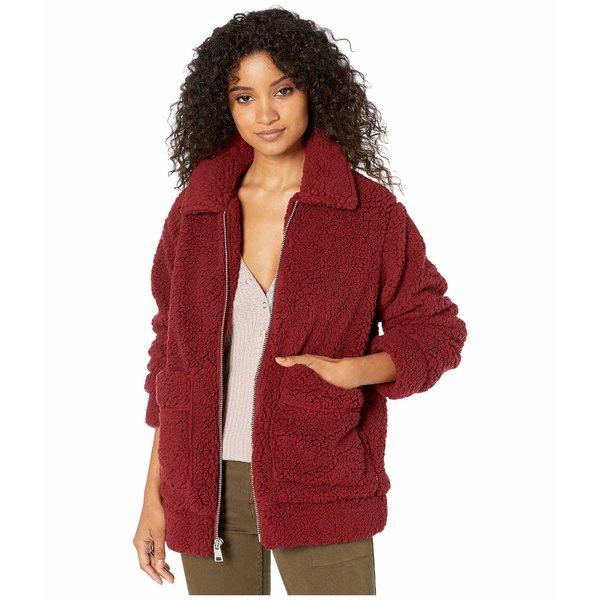 リーバイス レディース コート アウター Sherpa Mid Length Zip Front Two-Pocket Red
