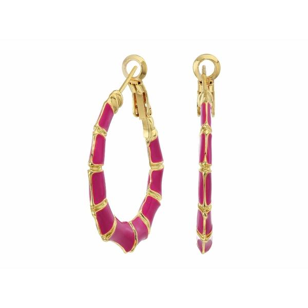 シャシ レディース ピアス&イヤリング アクセサリー Bamboo Hoop Earrings Gold/Fuchsia