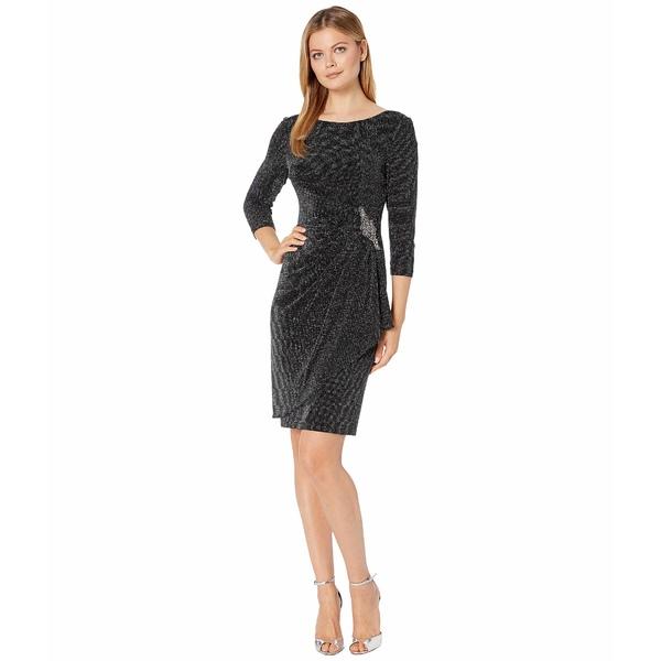 アレックスイブニングス レディース ワンピース トップス Short Metallic Knit Sheath Dress Black/Silver