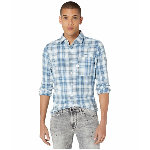ジースター メンズ シャツ トップス Bristum One-Pocket Slim Shirt Milk/Indigo Check
