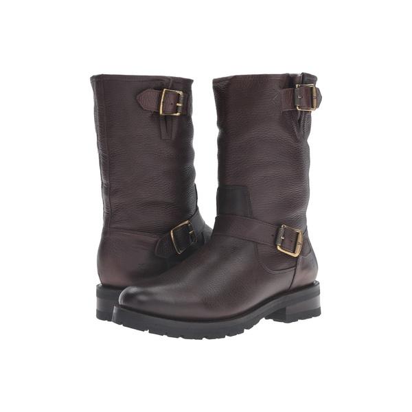 フライ レディース ブーツ&レインブーツ シューズ Natalie Mid Engineer Lug Dark Brown Waterproof Waxed Pebbled Leather/Shearling