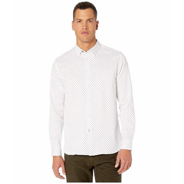テッドベーカー メンズ シャツ トップス Maison Long Sleeve Small Diamond Print Shirt White