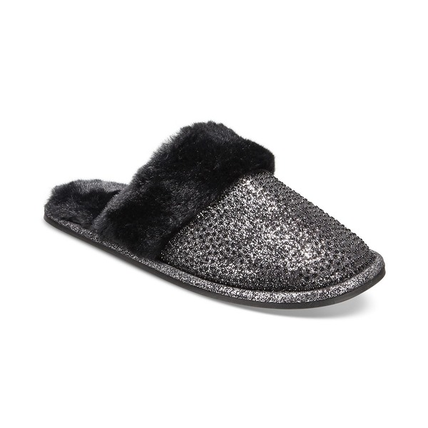 INC シューズ サンダル レディース アイエヌシーインターナショナルコンセプト Glitter Metallic Silver Macy's for Created Slippers, Faux-Fur