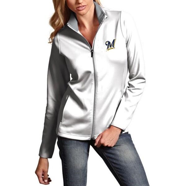 アンティグア レディース ジャケット&ブルゾン アウター Milwaukee Brewers Antigua Women's Leader Full-Zip Jacket White