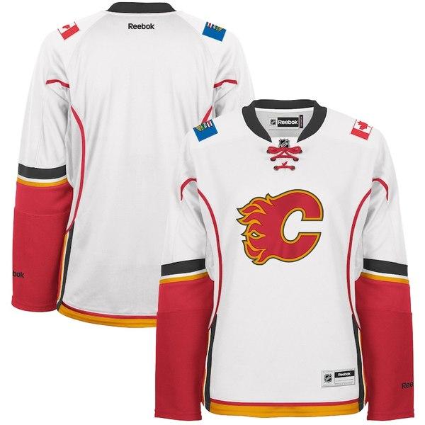 リーボック レディース シャツ トップス Calgary Flames Reebok Women's Premier Road Jersey White