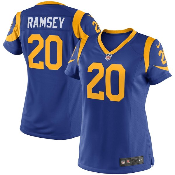 ナイキ レディース シャツ トップス Jalen Ramsey Los Angeles Rams Nike Women's Alternate Game Player Jersey Royal