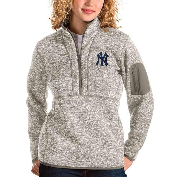 アンティグア レディース シャツ トップス New York Yankees Antigua Women's Fortune Quarter-Zip Pullover Jacket Oatmeal