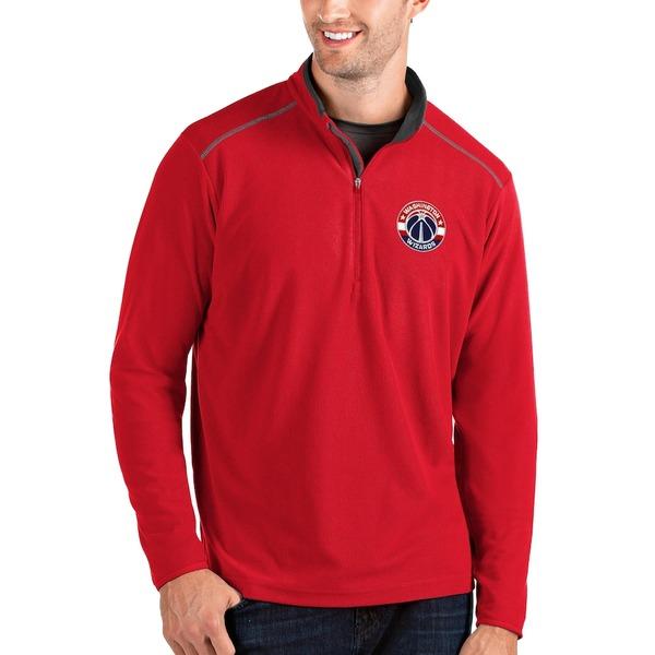 アンティグア メンズ ジャケット&ブルゾン アウター Washington Wizards Antigua Big & Tall Glacier Quarter-Zip Pullover Jacket Red/Gray