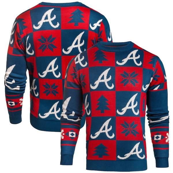 フォコ メンズ シャツ トップス Atlanta Braves Patches Ugly Pullover Sweater Navy