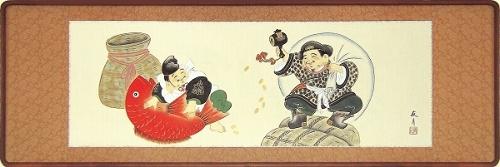 【日本画・絵画】関口友月『恵比寿大黒 (欄間)』日本画■新品★