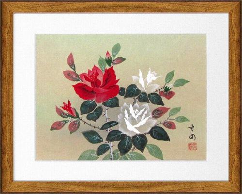 【日本画・絵画】田中芳園『バラ (F6号)』日本画■新品★