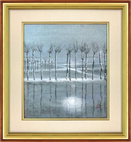 【日本画・絵画】竹内邦夫『北国の早春(F10号)』日本画■★
