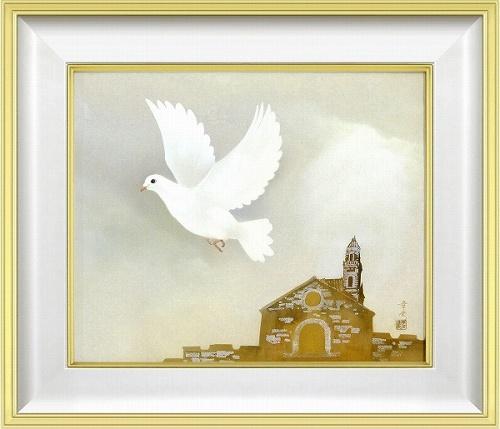 【日本画・絵画】中川幸彦『幸福の白い鳩(F10号)』日本画■新品★