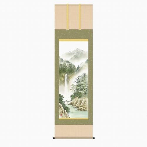 掛け軸 掛軸 NEW ARRIVAL 清水玄澄 薫風蒼水 版画+手彩色■表装済み 買い取り 尺五立 新品