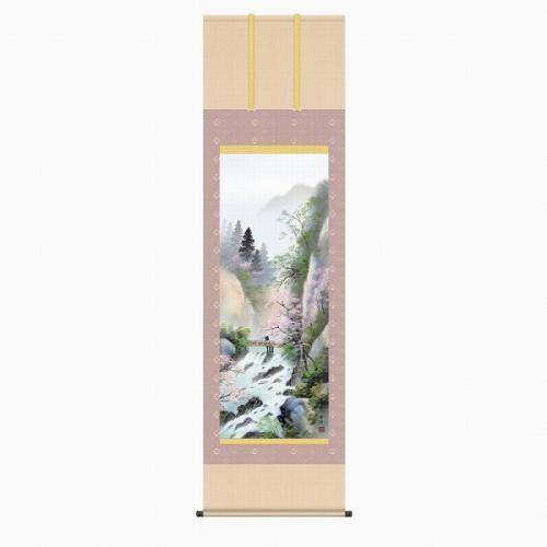 【掛け軸・掛軸】小林秀峰『春招情景(尺五立)』版画+手彩色■表装済み・新品★
