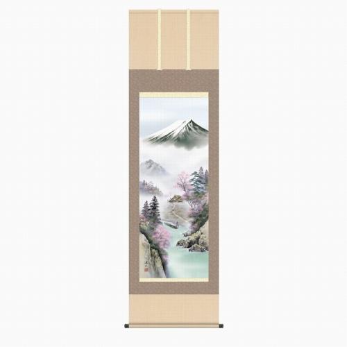 掛け軸 未使用 高品質新品 掛軸 伊藤渓山 富士来春 版画+手彩色■表装済み 尺五立 新品