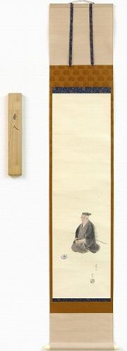 【掛け軸・掛軸】岳水『茶人』日本画■表装済み★
