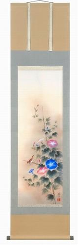 【掛け軸・掛軸】高見蘭石『朝顔(尺三立)』版画+手彩色■表装済み・新品★