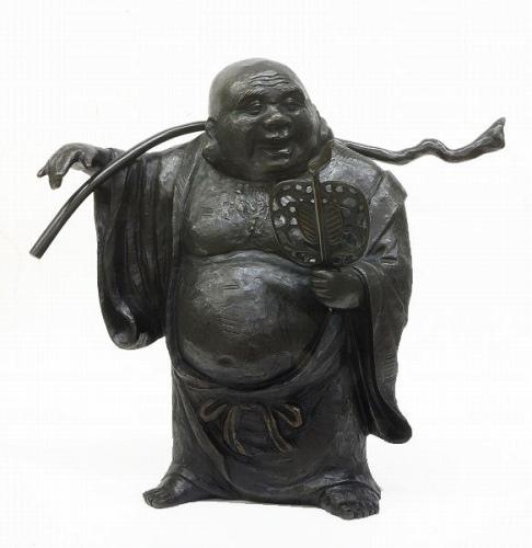 般若純一郎『木彫り風・布袋ブロンズ像』■新品★