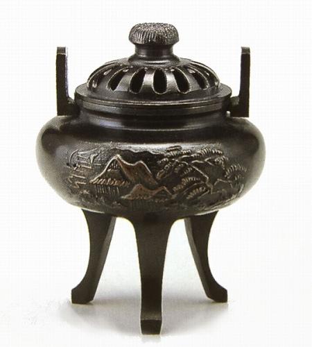 『菊蓋山水香炉』■新品★