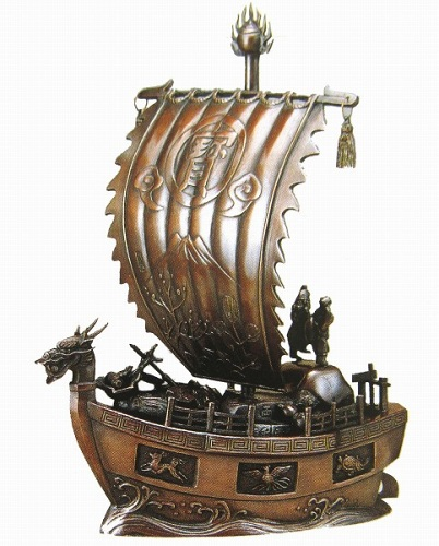 【置物・美術品】般若純一郎『新宝船・17号』ブロンズ像■新品★