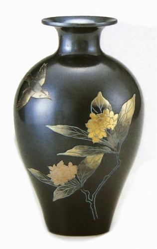 【置物・美術品】『蘭花鳥・花器』■新品★