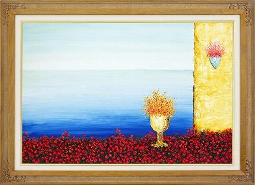 【油絵・絵画】渡辺ムサシ『エーゲ海のバラ (M20号)』油彩画・M20号サイズ■新品★