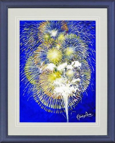 【水彩画・絵画】安藤洋重『夜空の大輪 (P10号)』水彩画■新品★