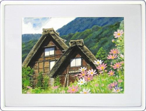 【水彩画・絵画】安藤洋重『秋桜の季節』水彩画■新品★