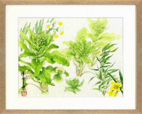【水彩画・絵画】安藤洋重『春の彩り』水彩画■新品★