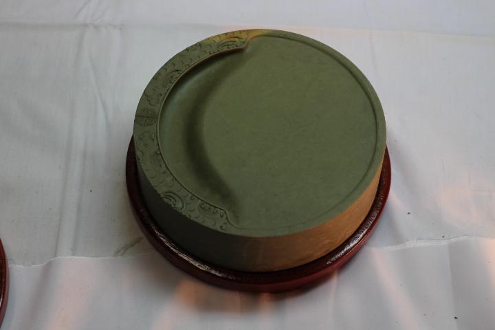 端渓硯 円型緑端渓名硯