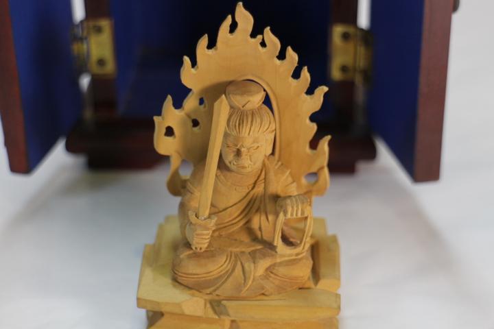 木彫 仏像 厨子入り不動明王