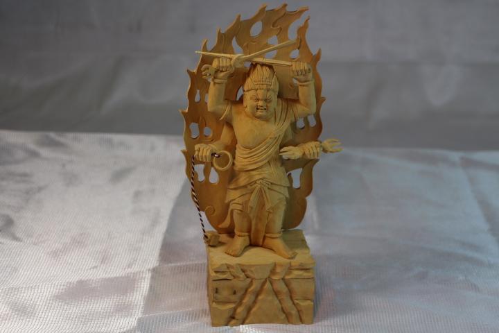 木彫仏像、烏枢沙摩明王 柘植製