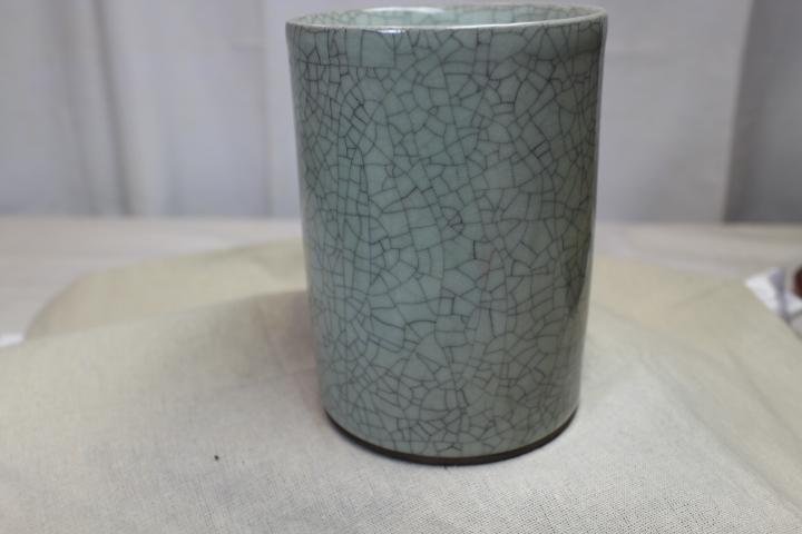青磁 可窯貫入 円筒花瓶