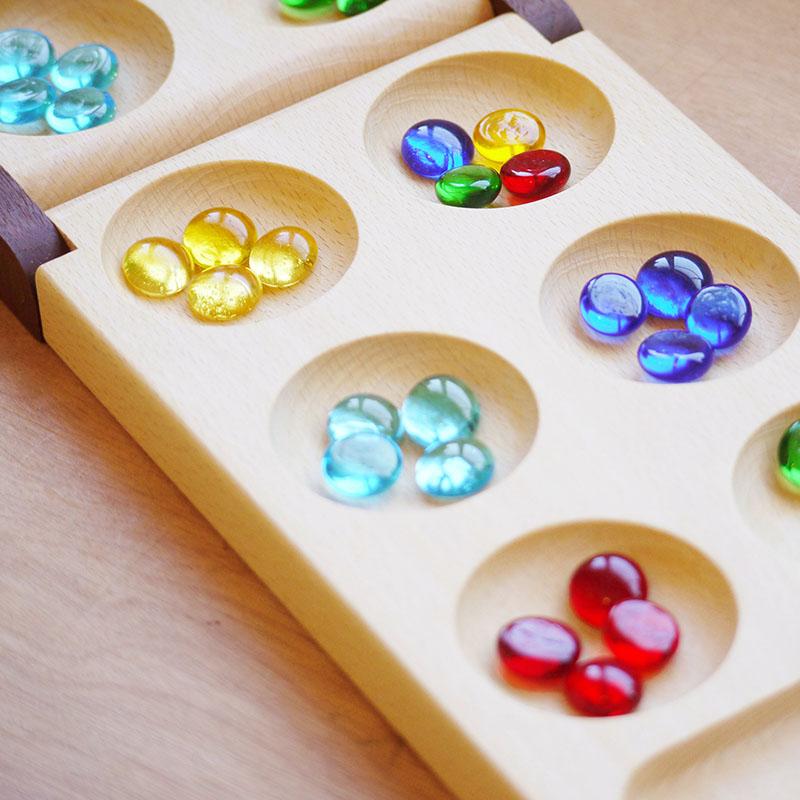 マンカラ 古代エジプト時代からあるゲーム 日本製 木製 知育玩具 名入れ カラハ 折りたたみ式 ビー玉 ボードゲーム テーブルゲーム 古代 ゲーム 知能ゲーム 脳トレ ナチュラル雑貨 名前入り プレゼント 子ども 飛鳥工房