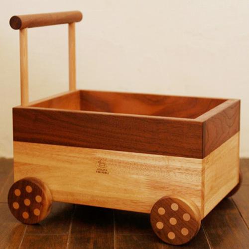 【おもちゃ箱】おもちゃ 片付け 箱 シンプル かわいい 歩行器 カタカタ代わり つかまり立ち おもちゃ箱【手押し車】-木のおもちゃ飛鳥工房