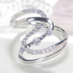 ☆【送料無料】K18WG【0.34ct】ダイヤモンド ライン デザイン リング 18金 ホワイト インデックス 指輪 透かし ゴージャス 人気 上品 ダイヤモンド 透かし柄 品質保証書 代引手数料無料 プレゼント 大ぶり 誕生日 記念 幅広 4月誕生石