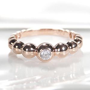 ☆【送料無料】K10PG【0.1ctUP】ダイヤモンド リング 指輪 かわいい 人気 上品 ダイヤモンド 10K 10金 品質保証書 代引手数料無料 プレゼント おしゃれ 誕生日 記念 4月誕生石 ドット