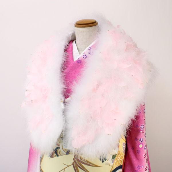 【あす楽】振袖用 フェザーストール ピンクの羽根にラメ付き str144【後払い決済不可】